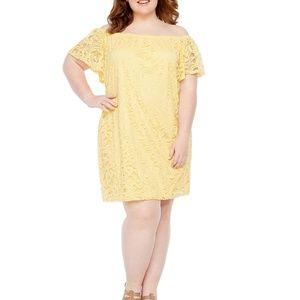 Tiana B Short Sleeve Yellow Lace Shift Dress